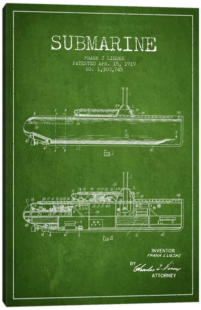 Submarine Vessel Green Patent Blueprint Canvas Art Print