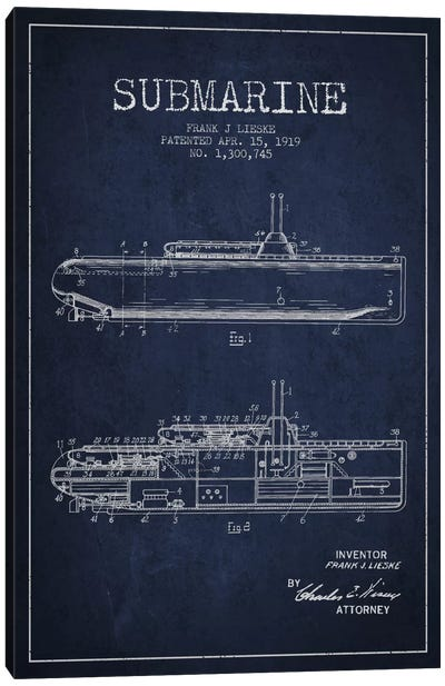 Submarine Vessel Navy Blue Patent Blueprint Canvas Art Print