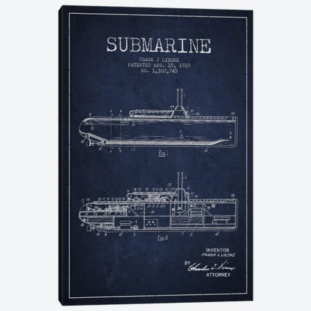 Submarine Vessel Navy Blue Patent Blueprint Canvas Print #ADP2677} by Aged Pixel Canvas Artwork