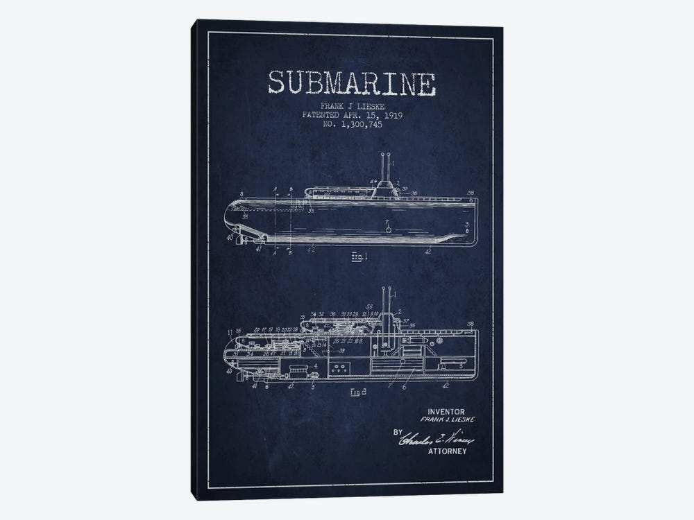 Submarine Vessel Navy Blue Patent Blueprint by Aged Pixel 1-piece Canvas Artwork