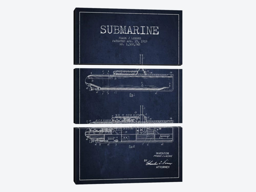 Submarine Vessel Navy Blue Patent Blueprint by Aged Pixel 3-piece Canvas Art