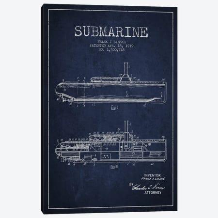 Submarine Vessel Navy Blue Patent Blueprint Canvas Print #ADP2677} by Aged Pixel Canvas Artwork