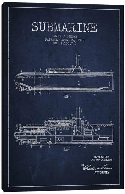Submarine Vessel Navy Blue Patent Blueprint Canvas Art Print