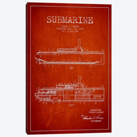 Submarine Vessel Red Patent Blueprint Canvas Print #ADP2678} by Aged Pixel Canvas Print