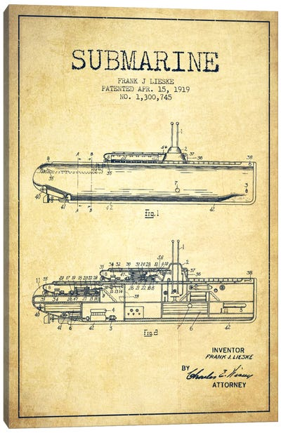 Submarine Vessel Vintage Patent Blueprint Canvas Art Print