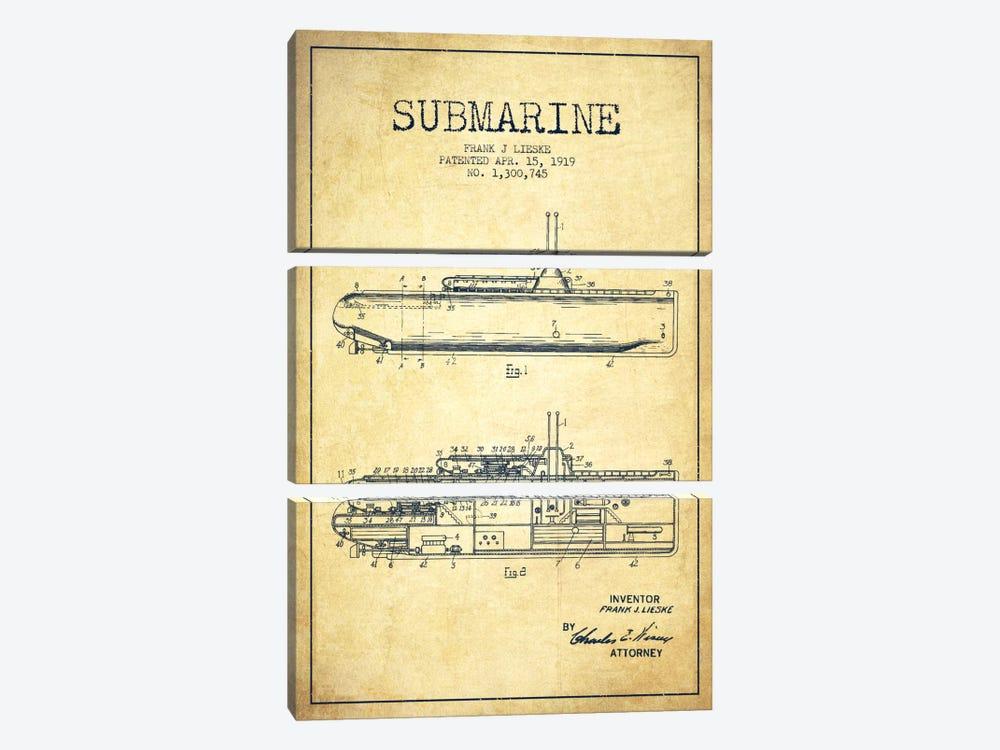 Submarine Vessel Vintage Patent Blueprint by Aged Pixel 3-piece Canvas Artwork