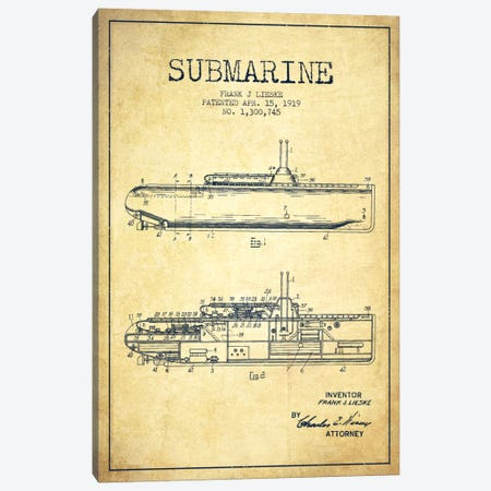 Submarine Vessel Vintage Patent Blueprint Canvas Print #ADP2679} by Aged Pixel Canvas Art Print