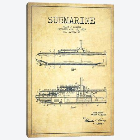 Submarine Vessel Vintage Patent Blueprint Canvas Print #ADP2679} by Aged Pixel Canvas Art Print