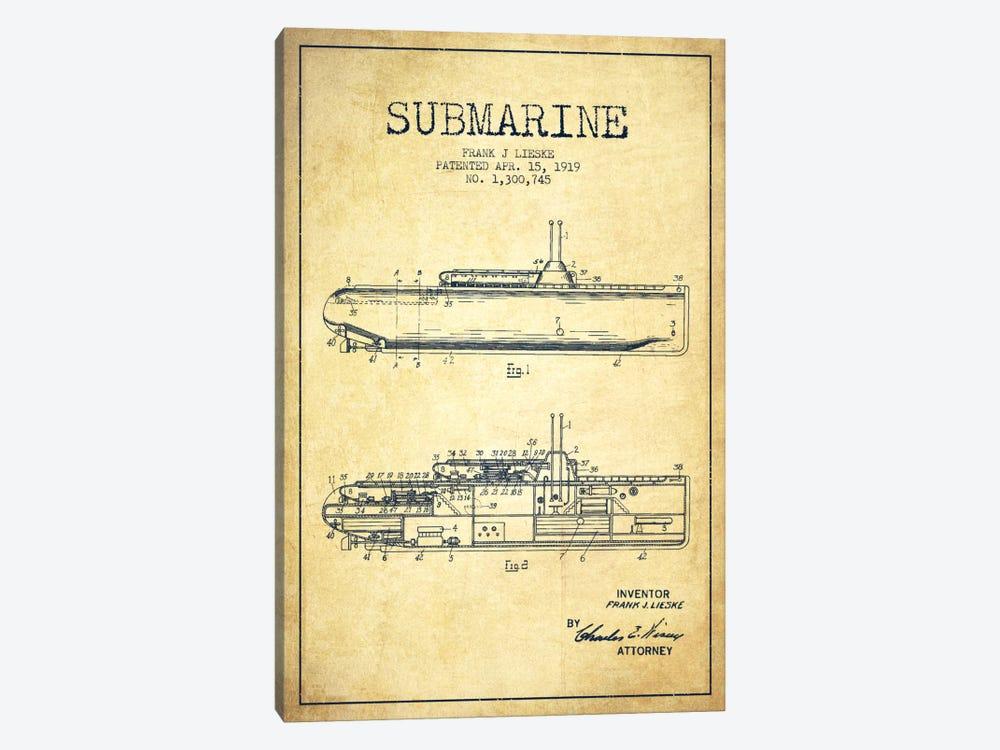 Submarine Vessel Vintage Patent Blueprint by Aged Pixel 1-piece Canvas Artwork