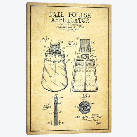 Nail Polish Applicator Vintage Patent Blueprint Canvas Print #ADP267} by Aged Pixel Canvas Wall Art