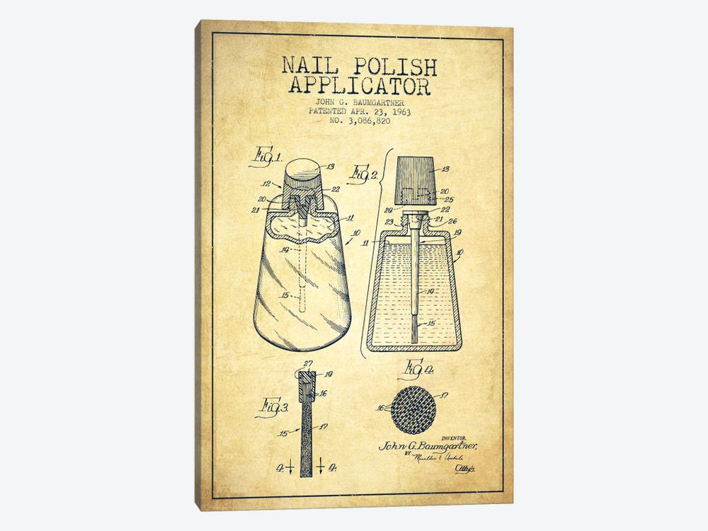 Nail Polish Applicator Vintage Patent Blueprint by Aged Pixel 1-piece Art Print