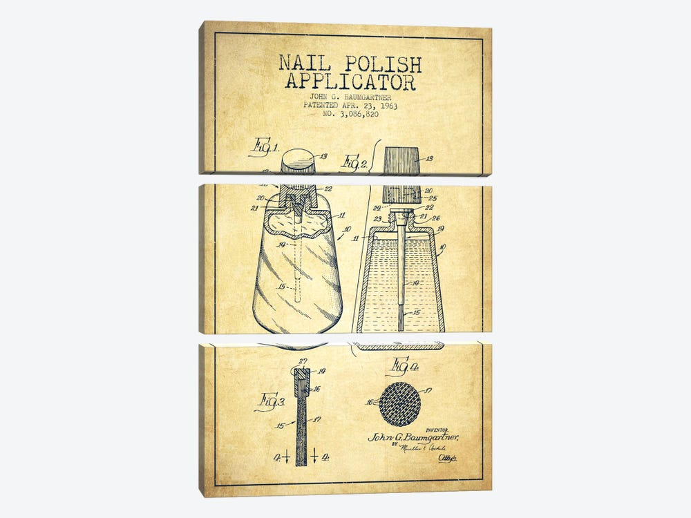 Nail Polish Applicator Vintage Patent Blueprint by Aged Pixel 3-piece Art Print