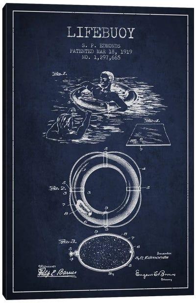 Lifebuoy Navy Blue Patent Blueprint Canvas Art Print