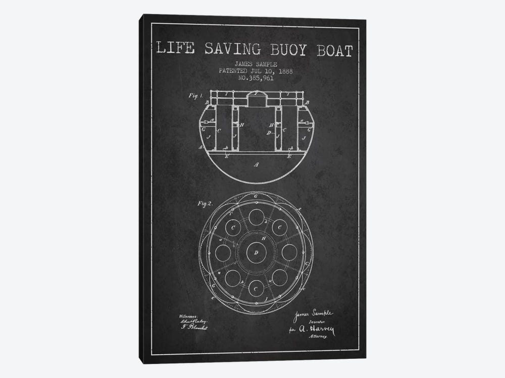 Lifebuoy Charcoal Patent Blueprint by Aged Pixel 1-piece Art Print