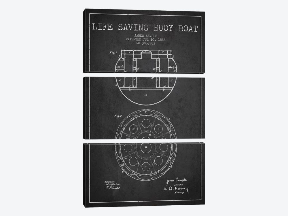 Lifebuoy Charcoal Patent Blueprint by Aged Pixel 3-piece Art Print