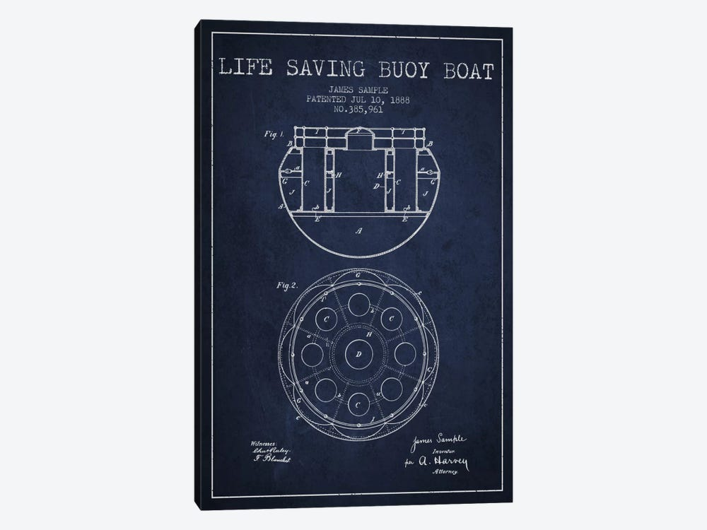 Lifebuoy Navy Blue Patent Blueprint 1-piece Art Print