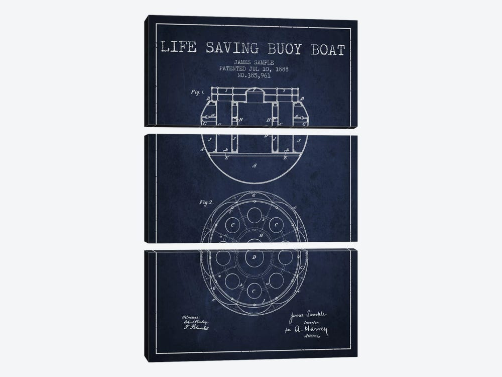 Lifebuoy Navy Blue Patent Blueprint by Aged Pixel 3-piece Canvas Print