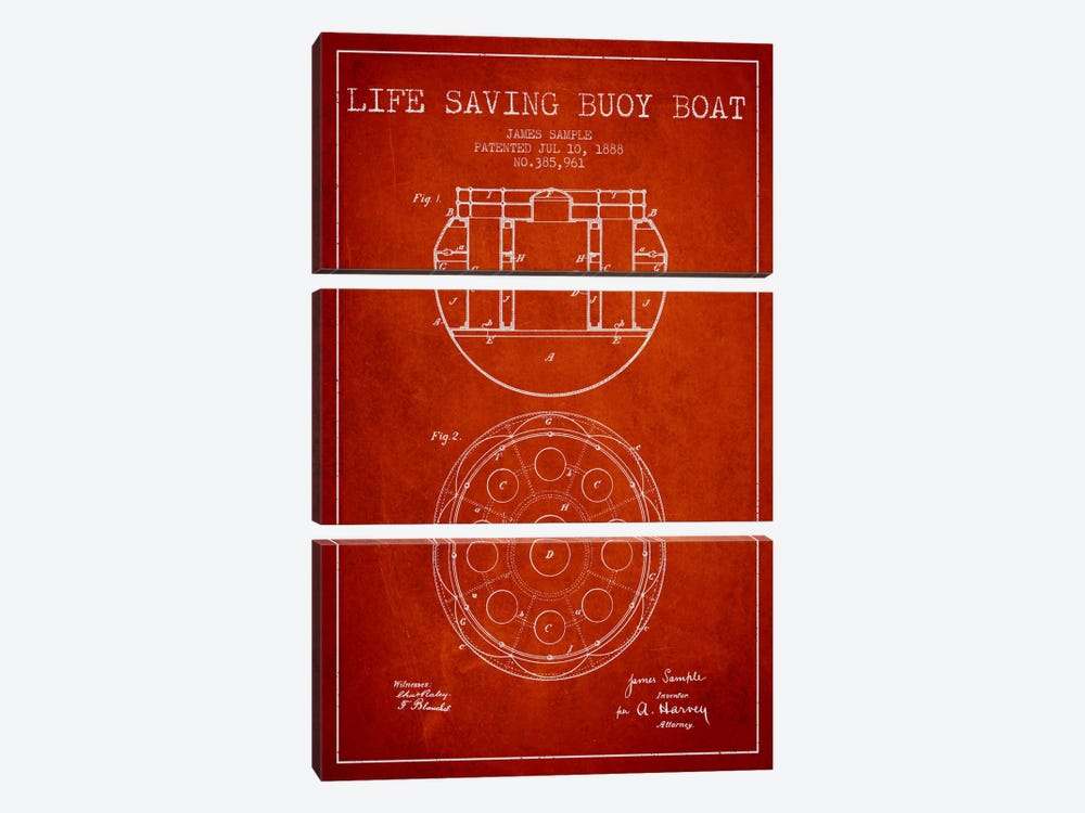 Lifebuoy Red Patent Blueprint by Aged Pixel 3-piece Canvas Art