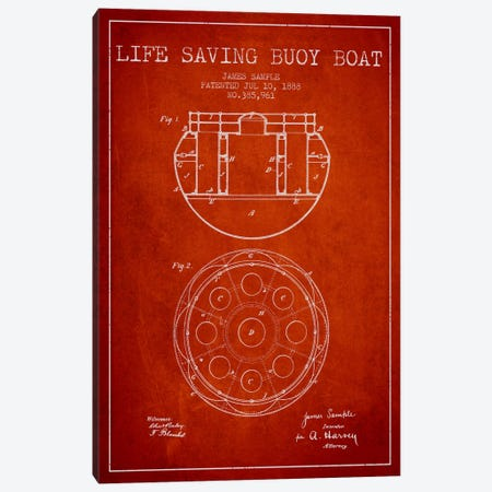Lifebuoy Red Patent Blueprint Canvas Print #ADP2688} by Aged Pixel Canvas Artwork
