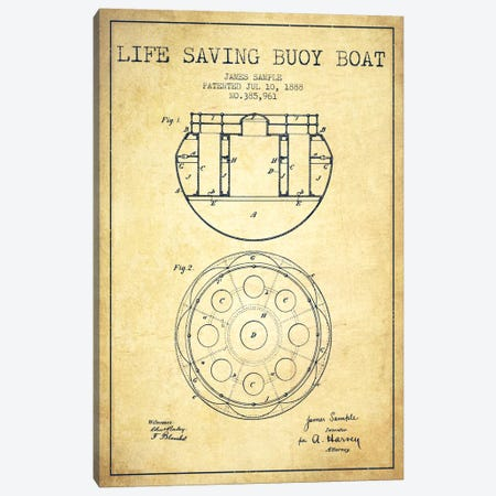 Lifebuoy Vintage Patent Blueprint Canvas Print #ADP2689} by Aged Pixel Canvas Art