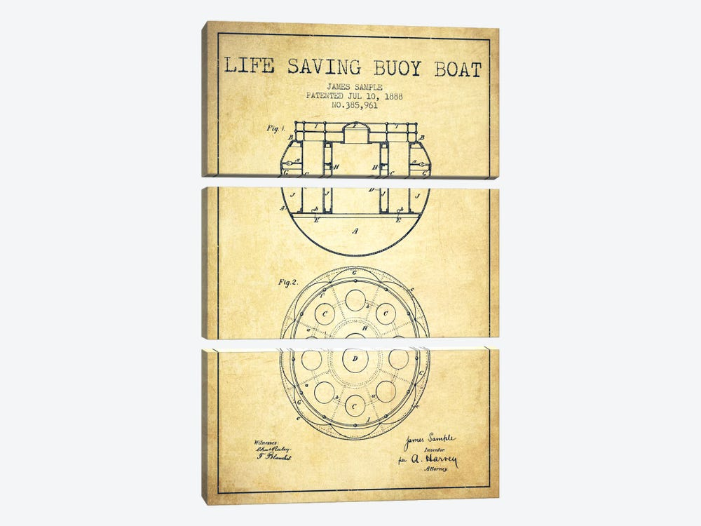 Lifebuoy Vintage Patent Blueprint by Aged Pixel 3-piece Canvas Print