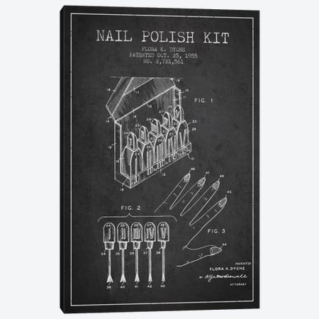 Nail Polish Kit Charcoal Patent Blueprint Canvas Print #ADP268} by Aged Pixel Art Print