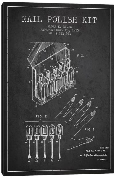 Nail Polish Kit Charcoal Patent Blueprint Canvas Art Print