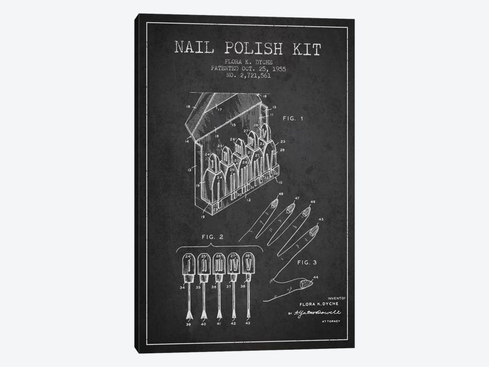 Nail Polish Kit Charcoal Patent Blueprint by Aged Pixel 1-piece Canvas Art