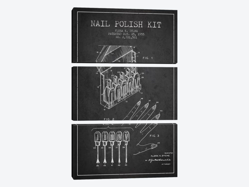 Nail Polish Kit Charcoal Patent Blueprint by Aged Pixel 3-piece Canvas Artwork