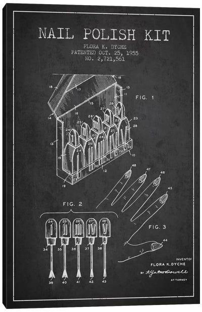 Nail Polish Kit Charcoal Patent Blueprint Canvas Art Print