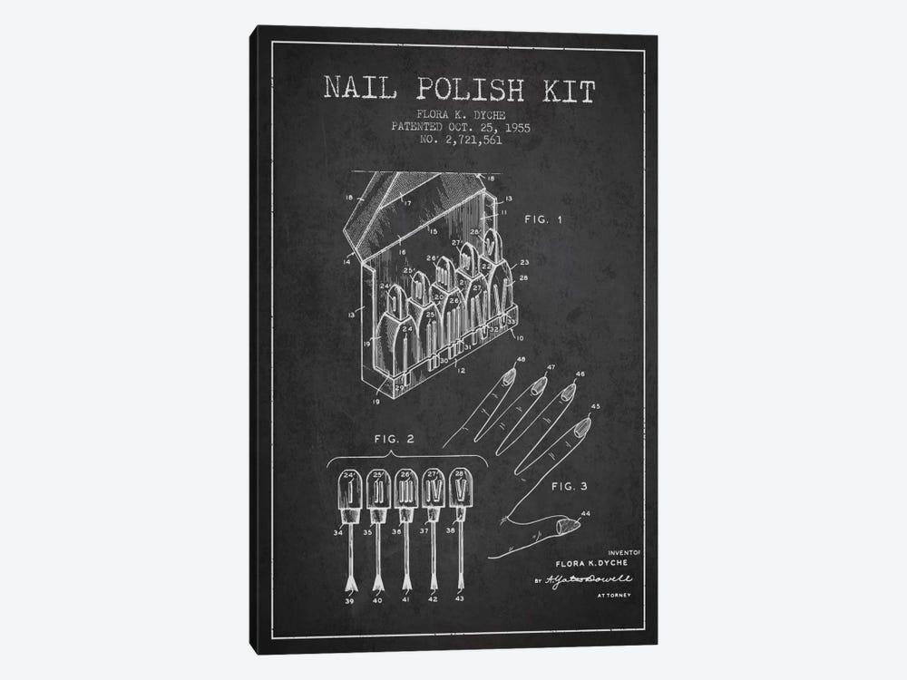 Nail Polish Kit Charcoal Patent Blueprint by Aged Pixel 1-piece Canvas Art