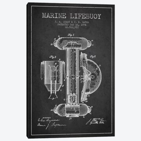 Marine Lifebuoy Charcoal Patent Blueprint Canvas Print #ADP2690} by Aged Pixel Canvas Art Print