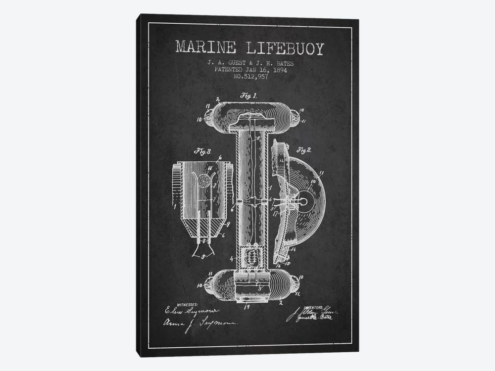 Marine Lifebuoy Charcoal Patent Blueprint by Aged Pixel 1-piece Canvas Print