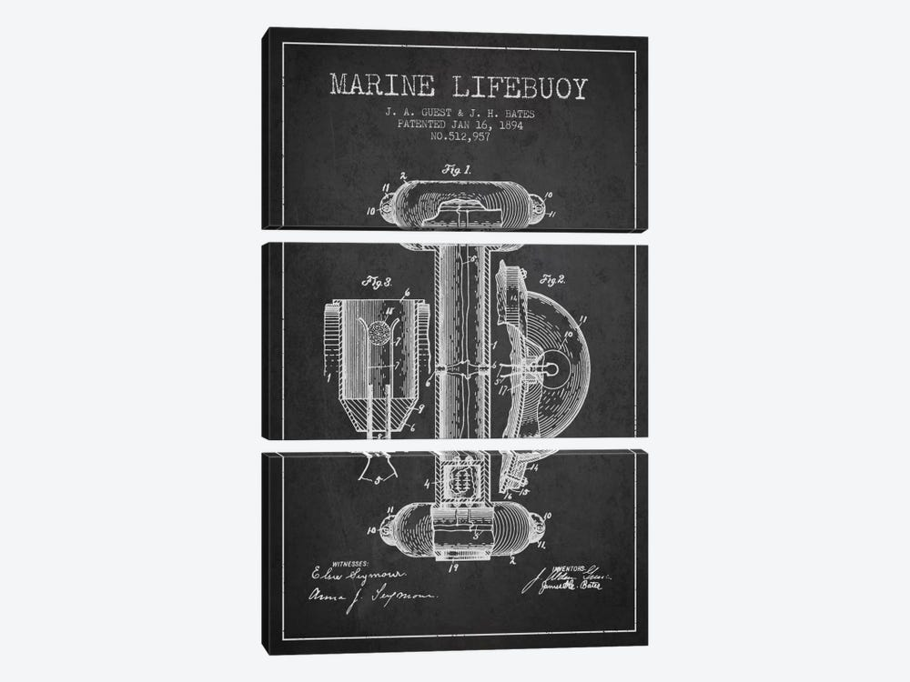 Marine Lifebuoy Charcoal Patent Blueprint by Aged Pixel 3-piece Art Print