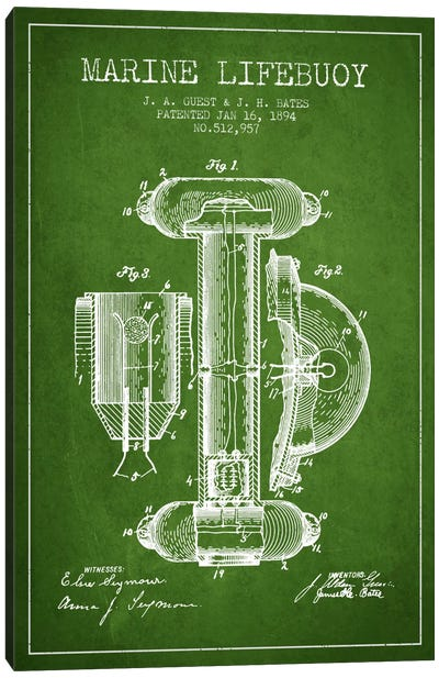 Marine Lifebuoy Green Patent Blueprint Canvas Print #ADP2691