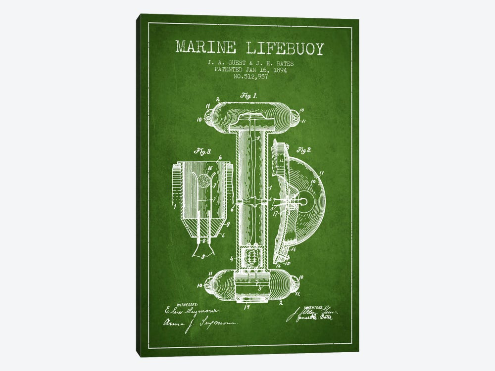 Marine Lifebuoy Green Patent Blueprint by Aged Pixel 1-piece Canvas Wall Art