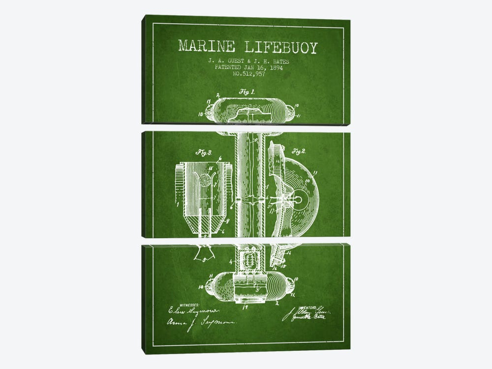 Marine Lifebuoy Green Patent Blueprint by Aged Pixel 3-piece Canvas Art