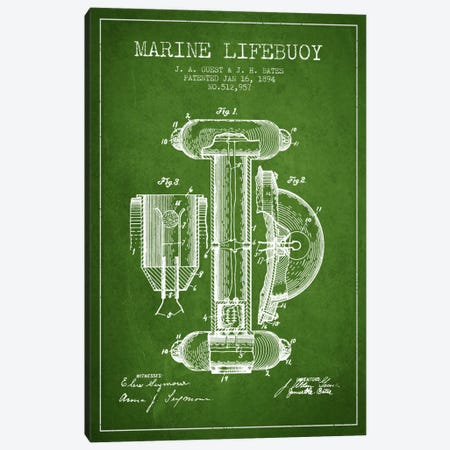 Marine Lifebuoy Green Patent Blueprint Canvas Print #ADP2691} by Aged Pixel Canvas Art Print
