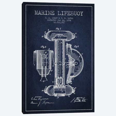 Marine Lifebuoy Marine Navy Blue Patent Blueprint Canvas Print #ADP2692} by Aged Pixel Canvas Art Print