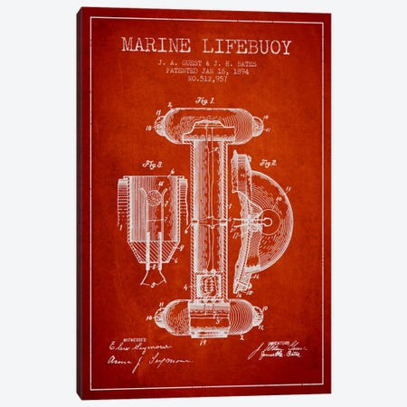 Marine Lifebuoy Red Patent Blueprint Canvas Print #ADP2693} by Aged Pixel Art Print