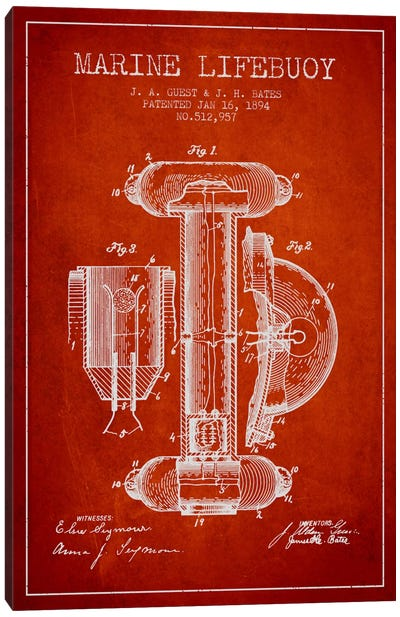 Marine Lifebuoy Red Patent Blueprint Canvas Print #ADP2693