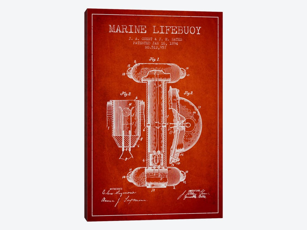 Marine Lifebuoy Red Patent Blueprint by Aged Pixel 1-piece Canvas Wall Art