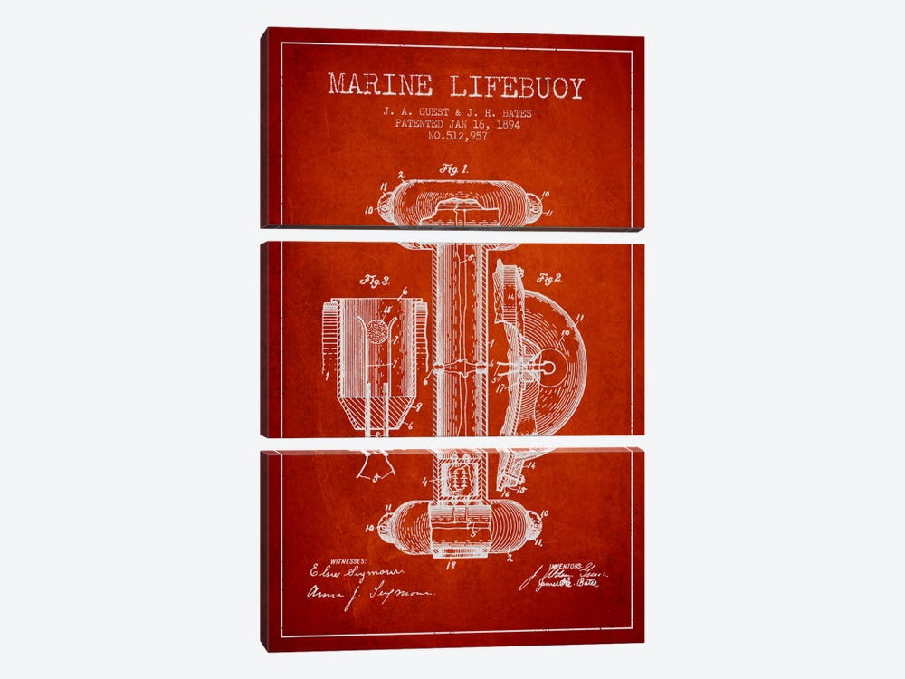 Marine Lifebuoy Red Patent Blueprint by Aged Pixel 3-piece Canvas Wall Art