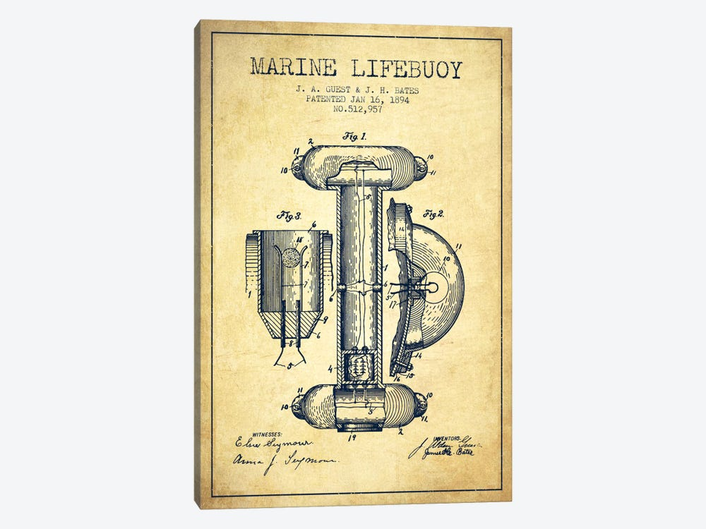 Marine Lifebuoy Vintage Patent Blueprint by Aged Pixel 1-piece Canvas Print