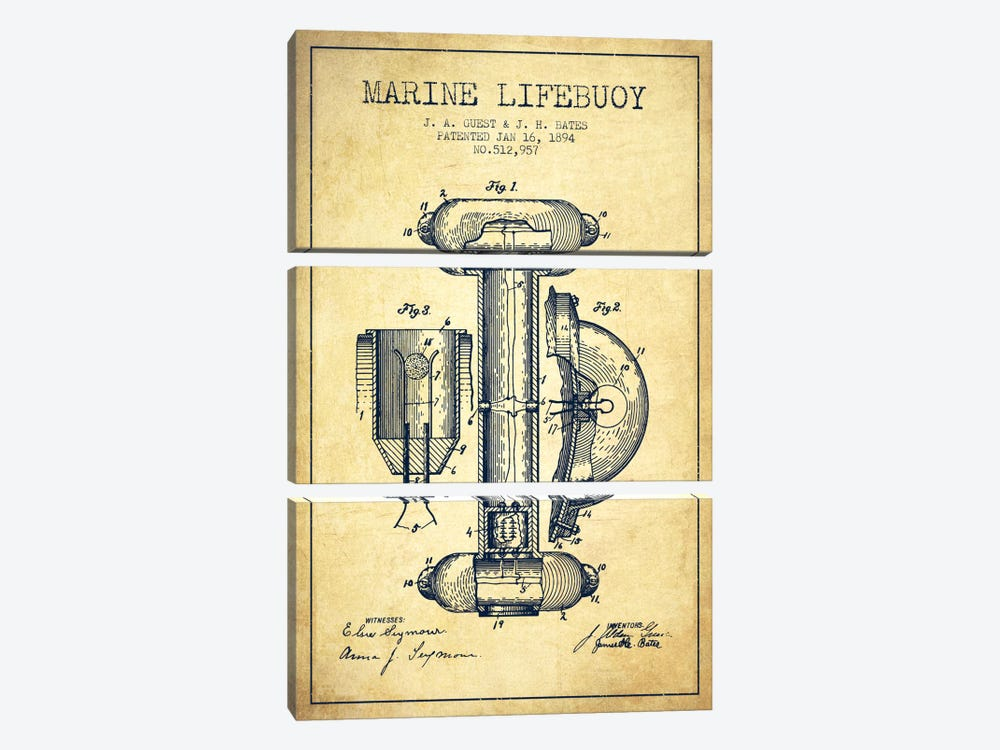 Marine Lifebuoy Vintage Patent Blueprint by Aged Pixel 3-piece Art Print