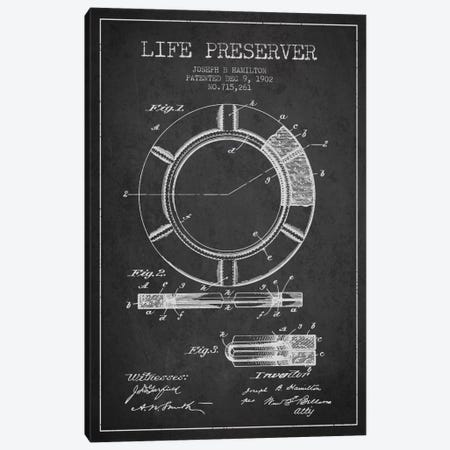 Life Preserver Charcoal Patent Blueprint Canvas Print #ADP2695} by Aged Pixel Canvas Artwork