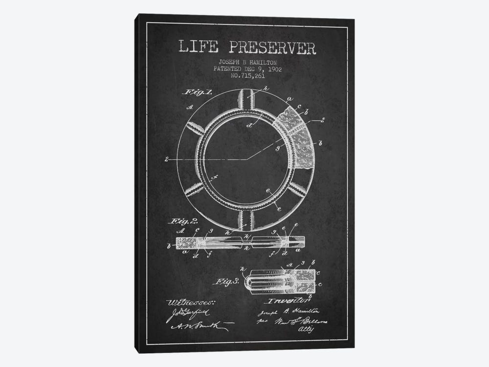 Life Preserver Charcoal Patent Blueprint 1-piece Canvas Art