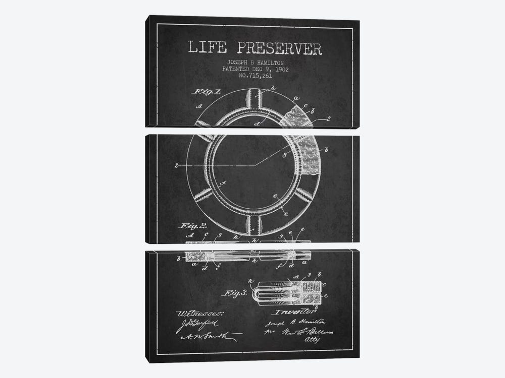 Life Preserver Charcoal Patent Blueprint 3-piece Canvas Wall Art