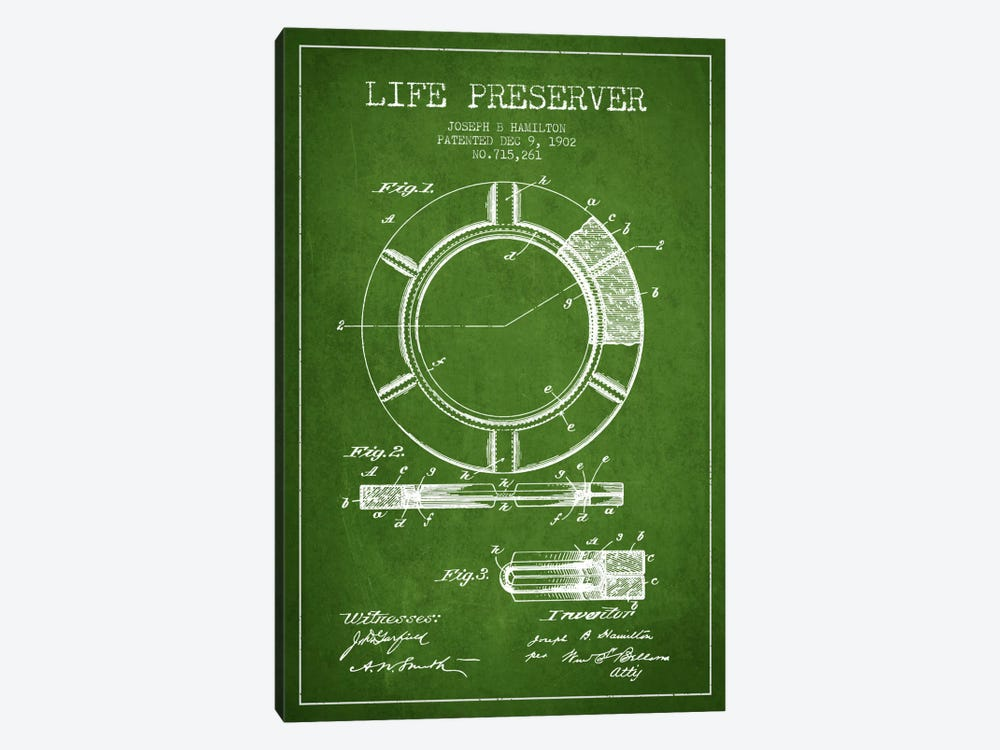 Life Preserver Green Patent Blueprint by Aged Pixel 1-piece Art Print