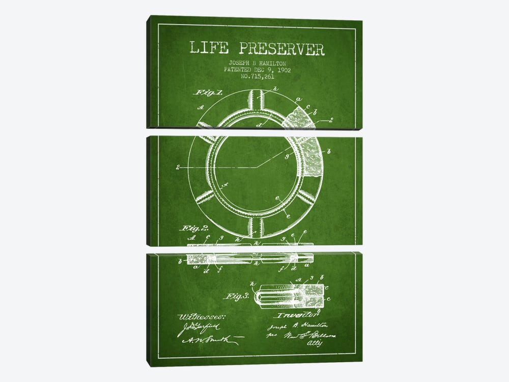 Life Preserver Green Patent Blueprint by Aged Pixel 3-piece Canvas Print